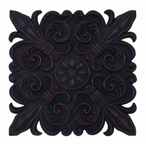 Deep And Rich Fleur-de-Lis Shaped Wall Plaque Decor Brand Woodland