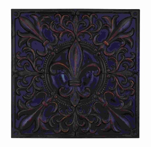 Deep And Rich Fleur-de-Lis Themed Wall Plaque Decor Brand Woodland