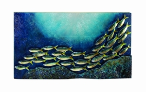 Deep Blue Fish Metal Wall Decor Sculpture, Aqua Metal Wall Decor Brand Woodland
