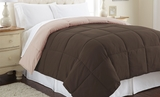 Deep Mahogany/Peach Beige Queen Size Reversible Comforter from Down Alternative��