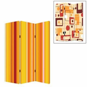 Deep Saffron 3 Panel Screen with Intricate Detailing on Canvas Brand Screen Gem