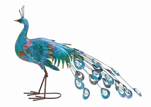 Deep-sea Blue Congo Artistic Metal Peacock Brand Benzara