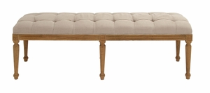 Defining Wood Fabric Vintage Bench by Woodland Import