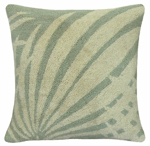 """Definition of Comfort Palm Leaf Green hooked pillow 16x16"""" by 123 Creations"""