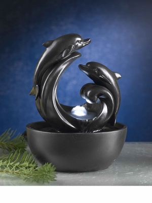Delfini Dolphin Tabletop Fountain with LED Light and Glass Sphere Brand Zest