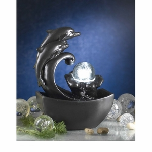 Delfini Dolphin Tabletop Fountain with Led Light & Dark Finish Brand Zest