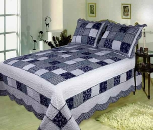 Delft Blue handmade quilt with refreshing appeal queen size Brand Elegant Decor