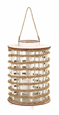 Delicate and Chic Wooden Glass Lantern with Rope Extension Brand Woodland