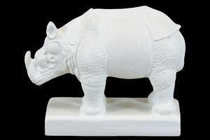 Delicately Designed White Rhino Animal Ceramic Miniature