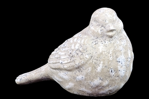 Delicately Sculpted Ceramic Bird Showpiece in Black & White Finish