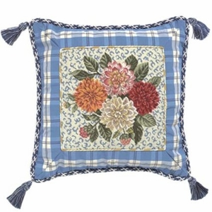 Delight Porcelain Dahlia Petit Point Pillow by 123 Creations
