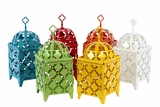 Delightful & Charming Middle Eastern Design Metal Lantern Set of Six Assorted Colors