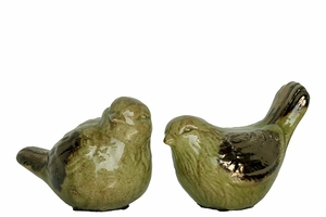 Delightful & Cute Ceramic Bird Set of two in Green Color w/ Glossy Finish