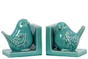 Delightful & Endearing Ceramic Bird Bookend Embellished w/ Beautiful Motif Turquoise