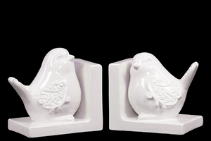 Delightful & Endearing Ceramic Bird Bookend Embellished w/ Beautiful Motif White