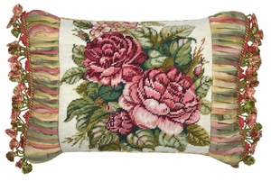 Delightful Spring Rose Petit Point Pillow by 123 Creations