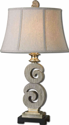 Delshire Wood Table Lamp with Detailing in Silver Brand Uttermost