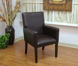 Deluxe Faux Leather Arm Chair with Glossy Finish by 4D Concepts