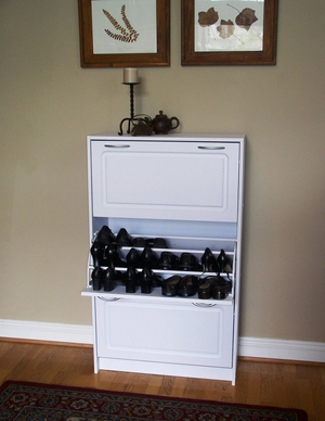 Deluxe Triple Shoe Cabinet with Three Openings by 4D Concepts