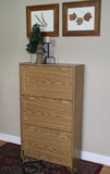 Deluxe Triple Shoe Cabinet with Wonderful Wooden Pattern by 4D Concepts