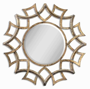 Demarco Round Mirror with Antiqued Gold And Burnished Gray Glaze Brand Uttermost