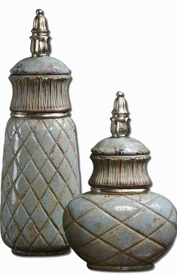 Deniz Style Canisters In Crackled Sea Foam Green Ceramic Brand Uttermost