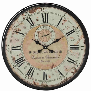 Derby Antique Rustic Metal Wall Clock Brand Benzara