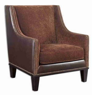 Derek Style Arm Chair With Chestnut Plush and Leather Brand Uttermost