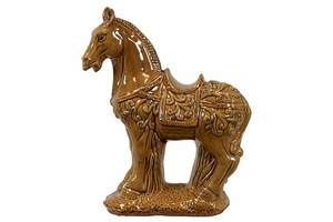 Designed Brown Standing Ceramic Horse by Urban Trends Collection