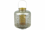 Designed w/ Exquisite & Beautifully Cut Pattern Metal Lantern w/ Amber Glass Large
