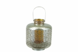 Designed w/ Exquisite & Beautifully Cut Pattern Metal Lantern w/ Amber Glass Small