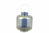 Designed w/ Exquisite & Beautifully Cut Pattern Metal Lantern w/ Blue Glass