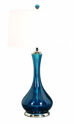Designer Deep Blue Glass Table Lamp with White Shade, Glass Lamp Brand Woodland