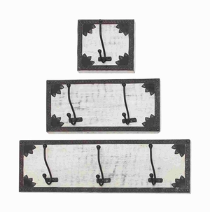 Attractive Black And White Wood Metal Wall Hook Set Of Three Plagues - 14439 by Benzara