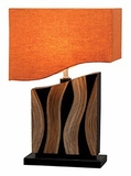 "Designer San Giorgio Wood Table Lamp 22"" With Red Shade Brand Woodland"