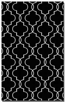 Devonshire Black 8' Woven Wool Rug with Off White Details Brand Uttermost