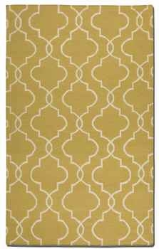 Devonshire Gold 5' Woven Wool Rug with Off White Details Brand Uttermost