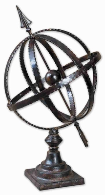 Diez Table Top Globe Decor In Antique Forged Metal Brand Uttermost