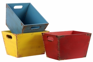 Different Colored Modern Set of Three Wooden Storage Box