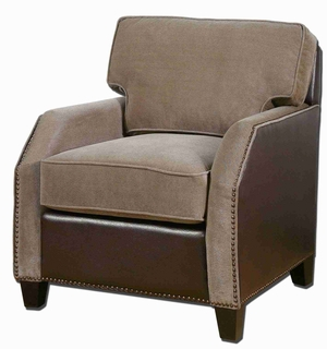 Dillard Armchair With Velvet and Faux Leather Brand Uttermost