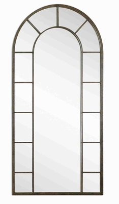 Dillingham Arched Wall Mirror with Aged Rustic Black Metal Frame Brand Uttermost