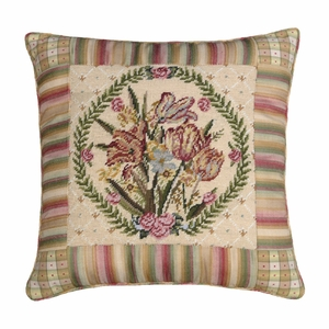 Distinctive Tulips Needlepoint Pillow by 123 Creations