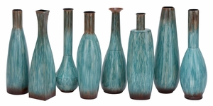 Distress Patina Metal Vases 8 Assorted , Complete Home Decor Brand Woodland