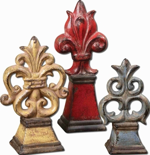 Distressed Fleur-de-Lis Table Top Decor Set In Ceramic Brand Uttermost