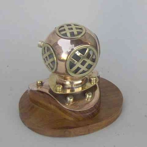 Divers Helmet - Copper And Brass Helmet With Wooden Base Brand IOTC