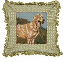 Dog Patterned Exclusive Yellow Lab Petit Point Pillow by 123 Creations