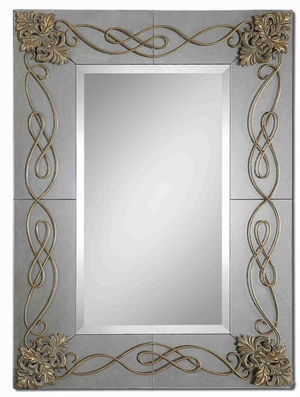 Dolianova Wall Mirror with Mirrored And Metal Scrollwork Edges Brand Uttermost