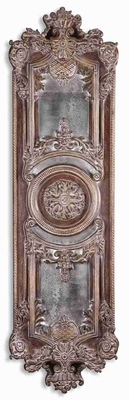 Domenica Antique Wall Mirror Art With Distressed Brown Glaze Brand Uttermost