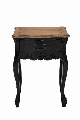 Dona Wooden Table in Black with Natural Top and a Drawer Brand Woodland