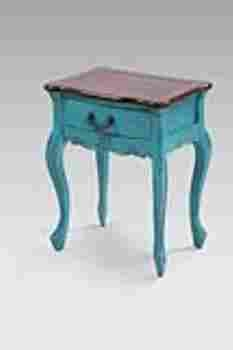 Dona Wooden Table in Sky Blue with Brown Top and a Drawer Brand Woodland